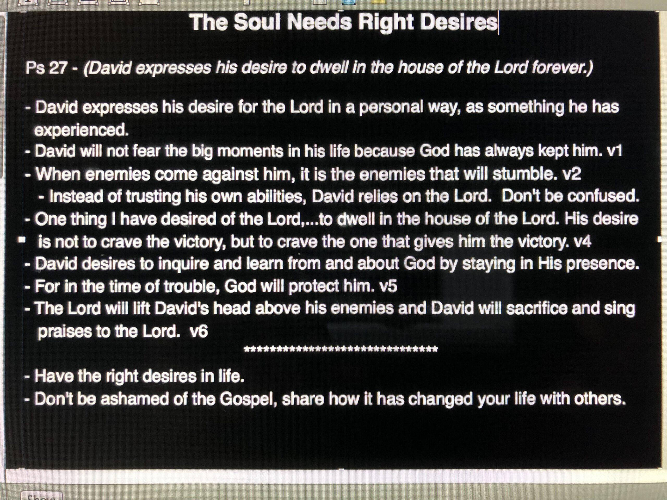 Soul Food Pt. 1: Right Desires - November 18, 2018