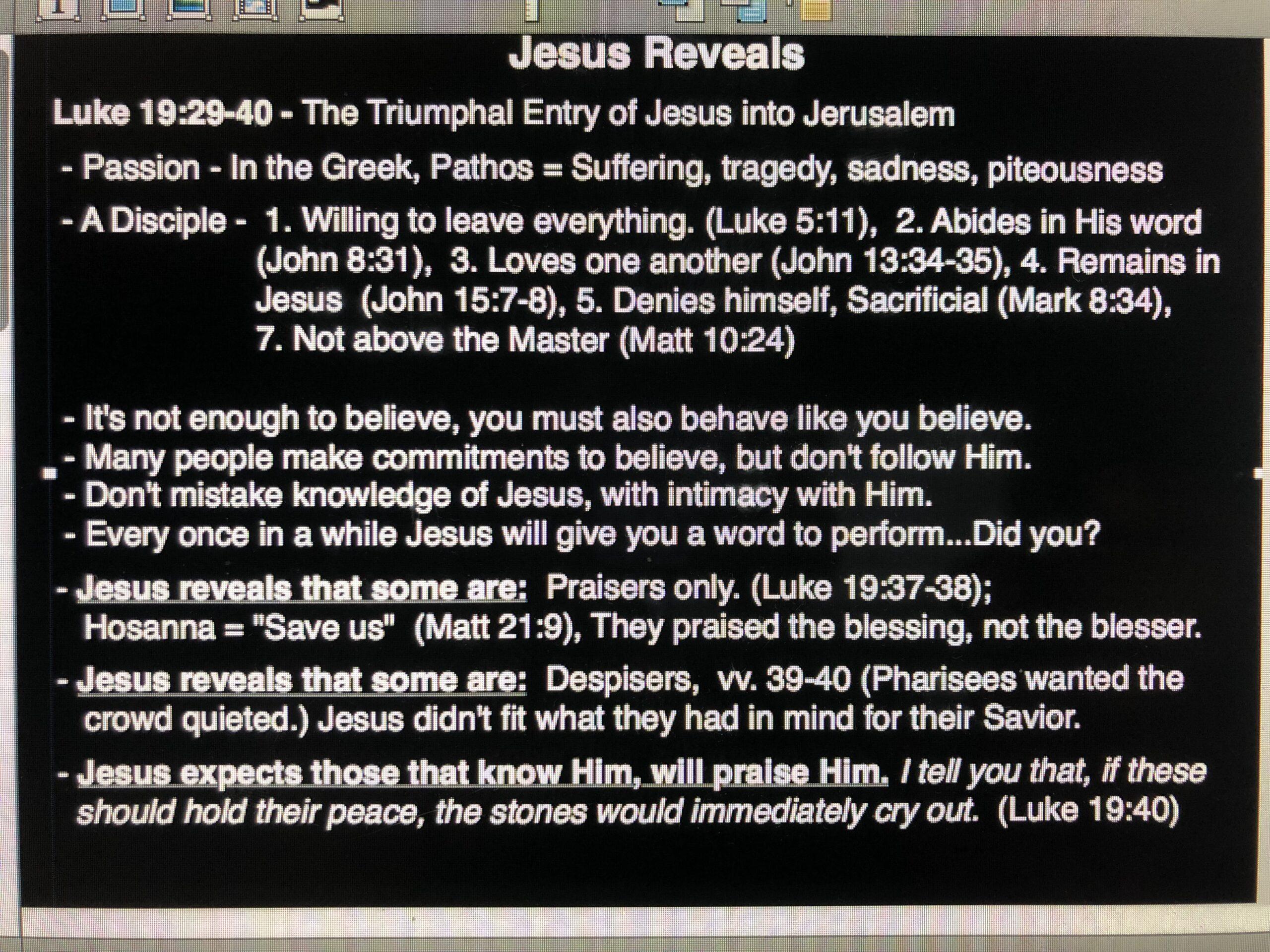 Jesus Reveals - April 14, 2019