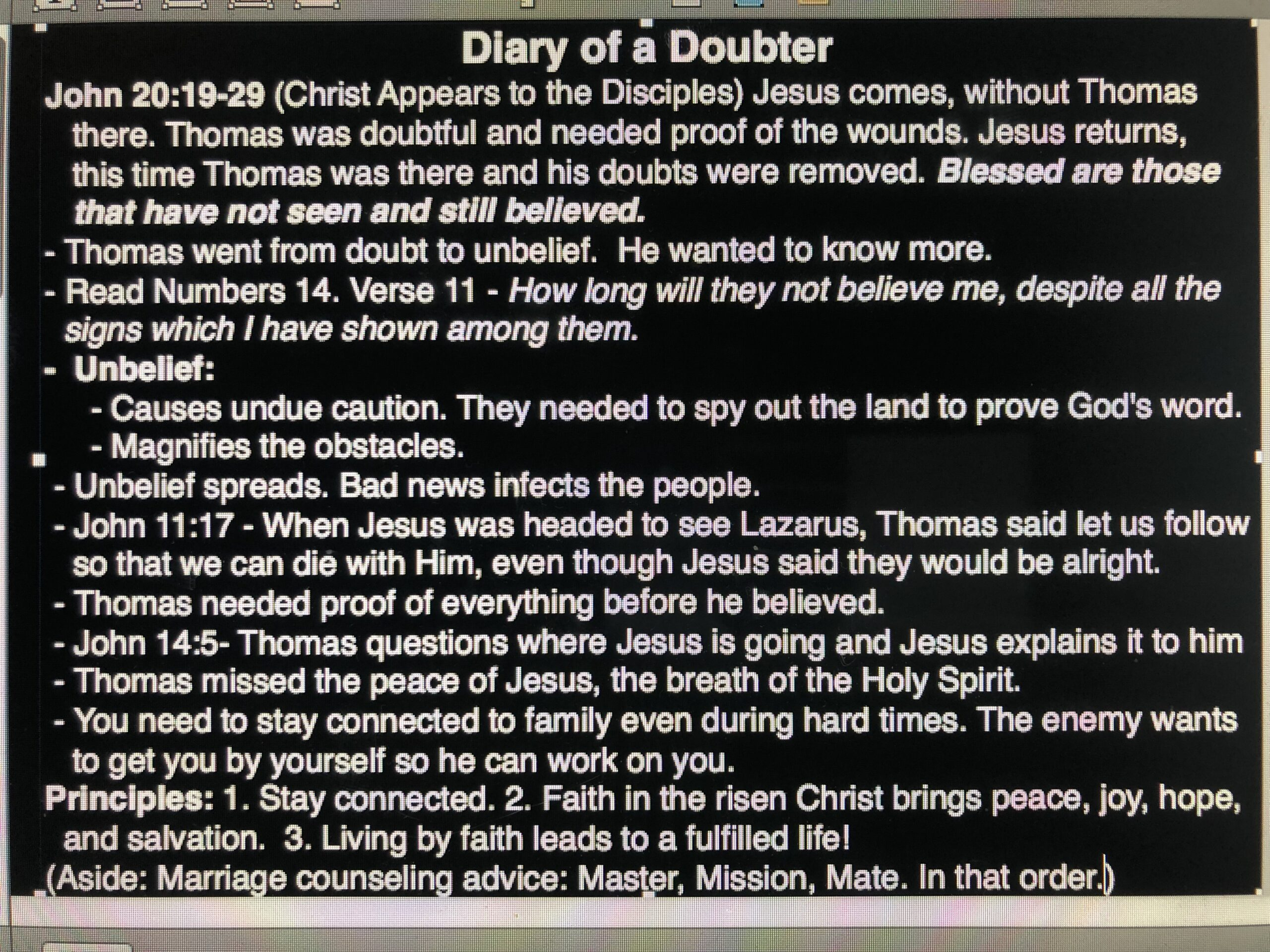 Diary of a Doubter - April 28, 2019