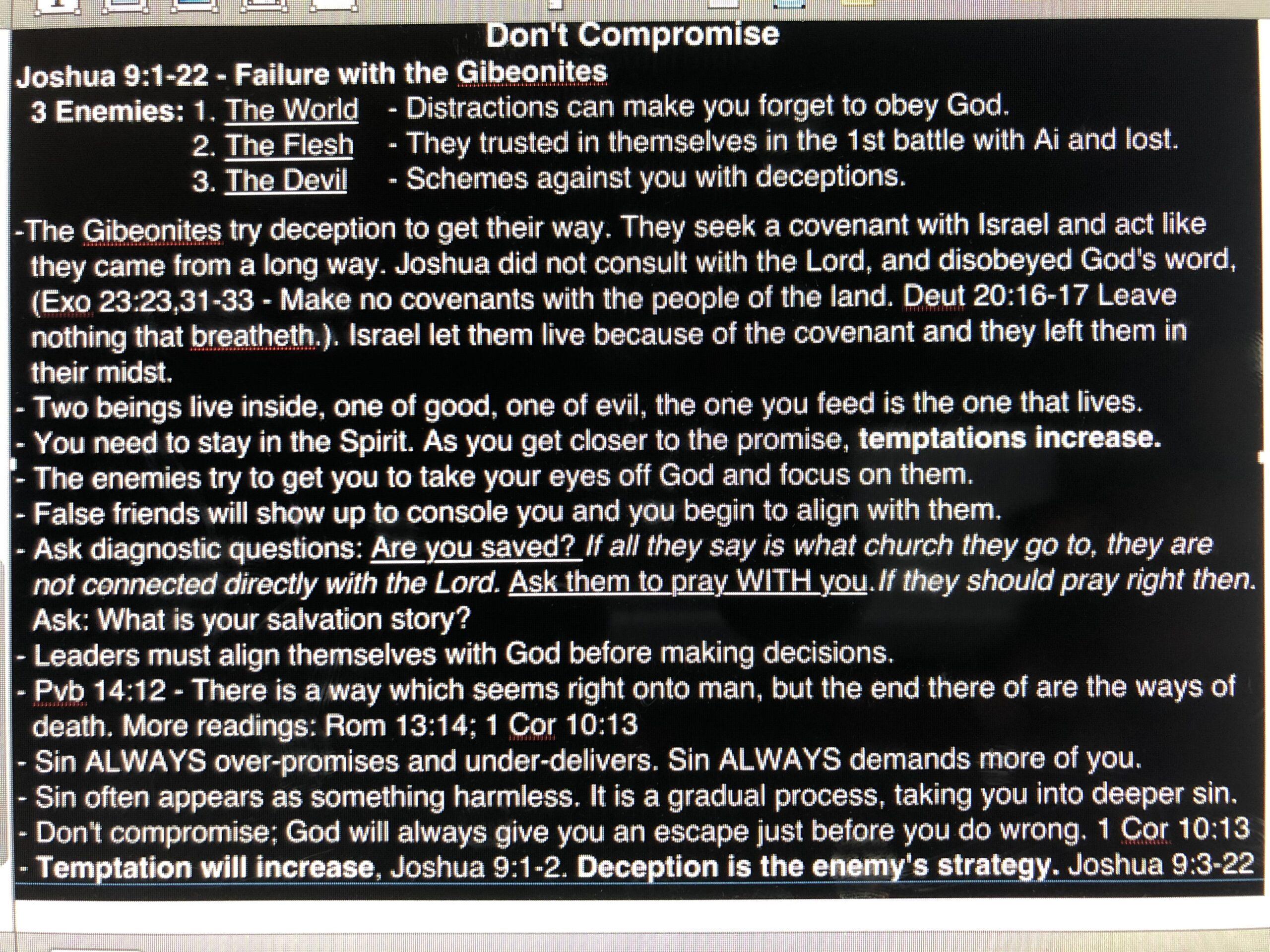 Don't Compromise - September 29, 2019