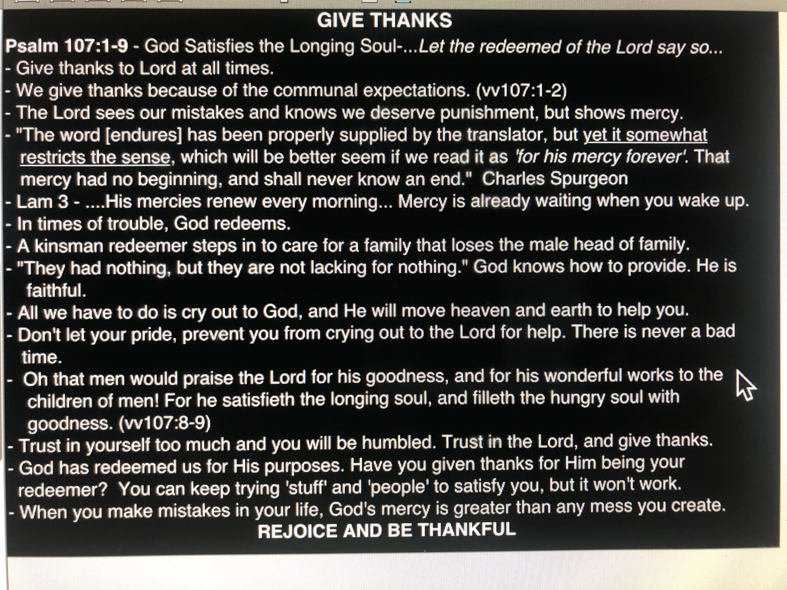 Give Thanks, Pt. 1 - November 3, 2019