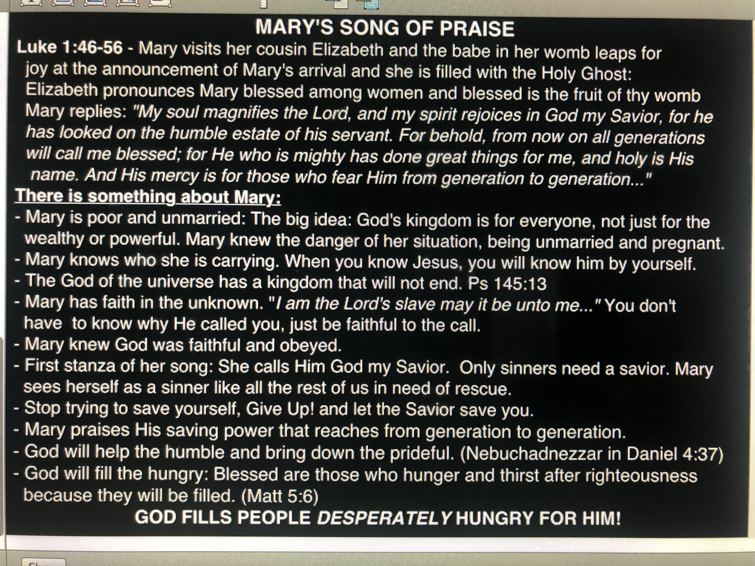 Mary's Song of Praise - December 1, 2019
